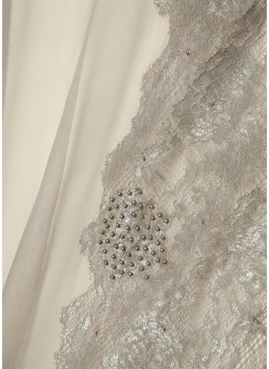 Beymen Collection Beymen Collection  Dantelli Boncuk İşlemeli Kadın İpek Şal 101441034 Bej